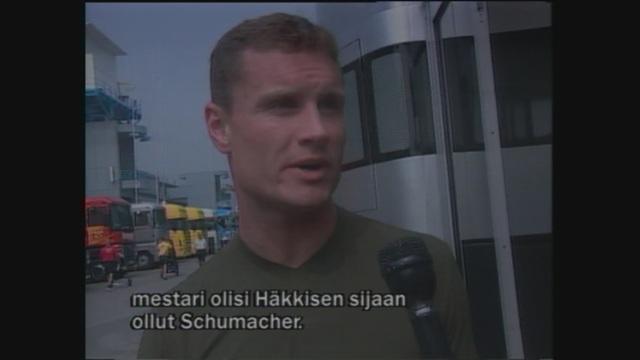 Uutisjutut: Urheilu, David Coulthard muistutti 20 vuotta sitten: Ilman minua maailmanmestari olisi Schumacher eikä Häkkinen